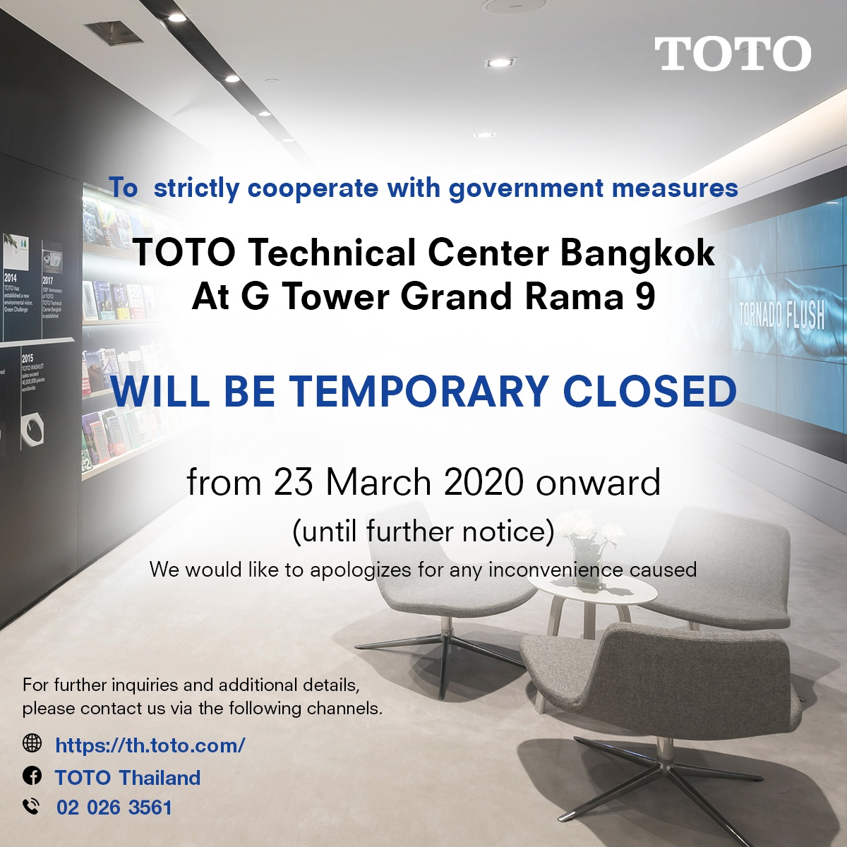 TOTO Technical Center Bangkok will be temporary closed from 23 March 2020 onward (until further notice) 1