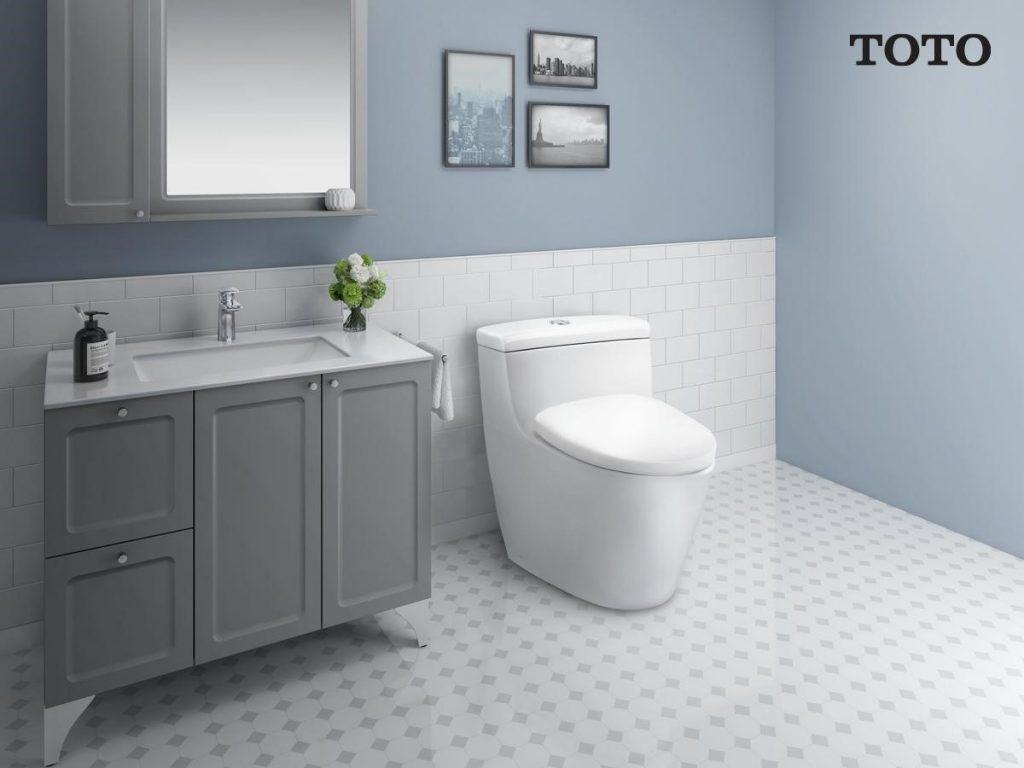 ภาพ: ห้องน้ำที่ให้ความผ่อนคลายโดยใช้สีโทนเย็น