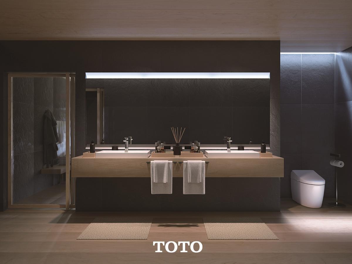 ห้องน้ำสไตล์โมเดิร์นโทนสีขาว เทา ดำ